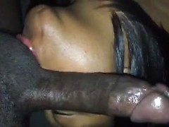 Artful amateur cocksucking and swallowing from a black cutie with soft lips